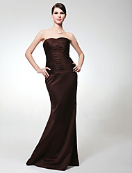 cheap -Mermaid / Trumpet Strapless Floor Length Satin Bridesmaid Dress with Ruched by