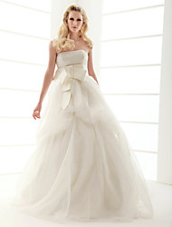 cheap -Ball Gown Strapless Court Train Organza Wedding Dress