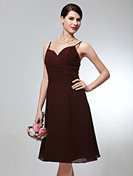 cheap -A-Line Spaghetti Straps Knee Length Chiffon Wedding Party Dress with Ruched Criss Cross by