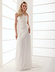 cheap -Sheath / Column Wedding Dresses One Shoulder Sweep / Brush Train Chiffon Sleeveless with 2021