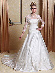 cheap -Princess A-Line Wedding Dresses Scalloped-Edge Court Train Satin Long Sleeve with Beading Appliques 2021
