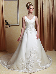 cheap -A-line V-neck Chapel Train Satin Beading Wedding Dress