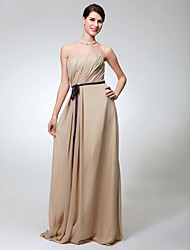 cheap -Sheath / Column Strapless Floor Length Chiffon Bridesmaid Dress with Sash / Ribbon / Side Draping