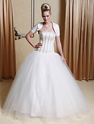 cheap -Ball Gown Strapless Floor-length Tulle Wedding Dress with Satin Wrap