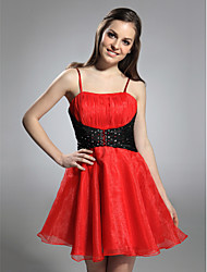 cheap -Ball Gown Holiday Homecoming Cocktail Party Dress Spaghetti Strap Sleeveless Short / Mini Organza with Ruched Beading Draping 2021