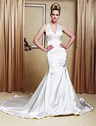 cheap -Trumpet/Mermaid Halter Court Train Elastic Woven Satin Wedding Dress