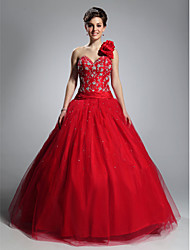 cheap -Ball Gown Open Back Quinceanera Prom Formal Evening Dress One Shoulder Sweetheart Neckline Sleeveless Floor Length Tulle with Beading Ruffles Embroidery 2021