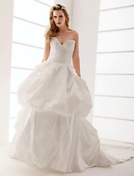 cheap -Ball Gown Dress Sweetheart Neckline Strapless Sleeveless Taffeta with Crystals Ruffles 2021