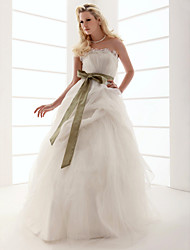 cheap -Ball Gown Strapless Floor-length Tulle Wedding Dress With Sashes