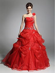 cheap -Ball Gown Elegant Quinceanera Formal Evening Dress One Shoulder Sleeveless Floor Length Organza with Pick Up Skirt Beading 2020