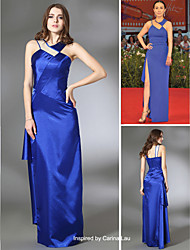 cheap -Sheath / Column Formal Evening Dress V Neck Sleeveless Floor Length Stretch Satin with Split Front 2021