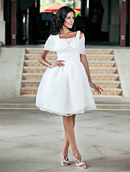 cheap -Ball Gown Wedding Dresses Square Neck Knee Length Organza Taffeta Regular Straps Little White Dress with Bowknot Lace 2021