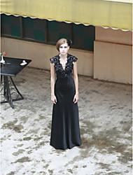 cheap -Sheath/ Column V-neck Floor-length Matte Satin Ready-to-Wear Evening/ Prom Dress