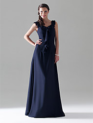 cheap -Sheath / Column Scoop Neck Floor Length Chiffon Bridesmaid Dress with