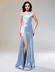 cheap -Sheath / Column Open Back Formal Evening Military Ball Dress Straps Sleeveless Floor Length Stretch Satin with Split Front 2021