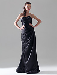 cheap -Sheath / Column Formal Evening Wedding Party Military Ball Dress Strapless Sleeveless Floor Length Satin with Side Draping 2021