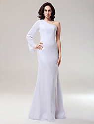 cheap -Mermaid / Trumpet Formal Evening Military Ball Dress One Shoulder Long Sleeve Floor Length Chiffon with 2020