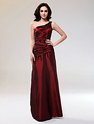 cheap -Sheath / Column Elegant Formal Evening Military Ball Dress One Shoulder Sleeveless Floor Length Taffeta with Side Draping 2020