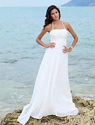 cheap -Sheath/Column Empire Halter Court Train Chiffon Wedding Dress
