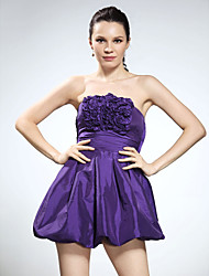 cheap -Ball Gown Homecoming Cocktail Party Sweet 16 Dress Strapless Sleeveless Short / Mini Taffeta with Ruffles 2021