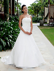 cheap -A-line Strapless Court Train Organza Wedding Dress