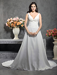 cheap -Princess A-Line Wedding Dresses Straps V Neck Court Train Chiffon Sleeveless with 2020