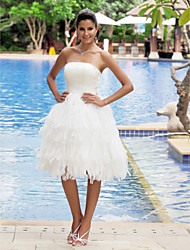 cheap -A-Line Wedding Dresses Strapless Knee Length Organza Satin Strapless Casual Plus Size with Tiered 2020