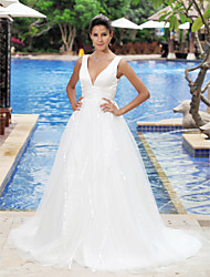 cheap -Princess A-Line Wedding Dresses V Neck Court Train Satin Tulle Sleeveless Open Back with Draping 2021