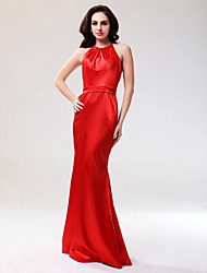 cheap -Mermaid / Trumpet Prom Formal Evening Military Ball Dress Halter Neck Sleeveless Floor Length Stretch Satin with Draping 2020