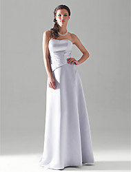 cheap -A-Line Princess Strapless Floor Length Satin Bridesmaid Dress with Side Draping by LAN TING BRIDE®