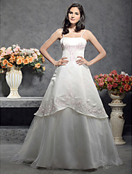 cheap -Princess A-Line Wedding Dresses Square Neck Floor Length Satin Tulle Spaghetti Strap Wedding Dress in Color with 2020