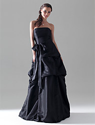 cheap -A-Line Prom Wedding Party Dress Strapless Sleeveless Floor Length Taffeta with Pick Up Skirt Sash / Ribbon Bow(s) 2021
