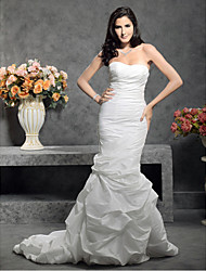 cheap -Mermaid / Trumpet Sweetheart Neckline Court Train Taffeta Strapless Made-To-Measure Wedding Dresses with Pick Up Skirt / Button / Side-Draped 2020