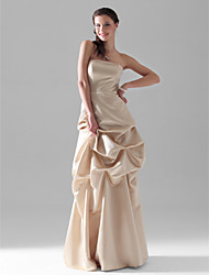 cheap -A-Line Wedding Party Dress Strapless Sleeveless Floor Length Satin with Pick Up Skirt 2021