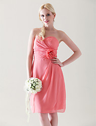 cheap -Sheath / Column Homecoming Cocktail Party Wedding Party Dress Sweetheart Neckline Strapless Sleeveless Knee Length Chiffon with Criss Cross Ruched Flower 2021