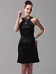 cheap -Sheath / Column Homecoming Cocktail Party Dress Jewel Neck Sleeveless Short / Mini Satin with Beading 2020