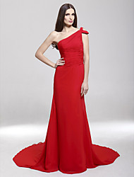 cheap -Sheath / Column All Celebrity Styles Inspired by Oscar Formal Evening Dress One Shoulder Sleeveless Court Train Chiffon Stretch Satin with Ruched Side Draping 2021