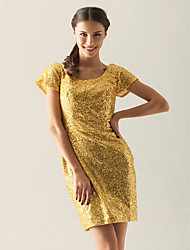 cheap -Sheath / Column Homecoming Cocktail Party Dress Scoop Neck Short Sleeve Short / Mini Sequined with 2020