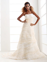 cheap -A-line Strapless Court Train Organza Tiered Wedding Dress with 3D Flowers