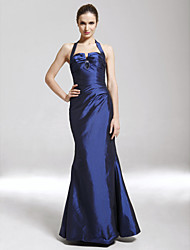 cheap -Sheath / Column Prom Formal Evening Military Ball Dress Halter Neck Sleeveless Floor Length Taffeta with Side Draping 2021