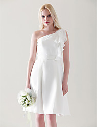 cheap -Princess / A-Line One Shoulder Knee Length Chiffon Bridesmaid Dress with Ruffles / Draping