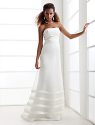 cheap -A-Line Strapless Floor Length Organza / Satin Strapless Made-To-Measure Wedding Dresses with Beading / Sash / Ribbon 2020