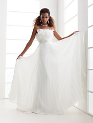 cheap -Sheath / Column Wedding Dresses Scalloped-Edge Sweep / Brush Train Chiffon Sleeveless with 2021