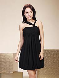 cheap -Sheath / Column Little Black Dress Homecoming Cocktail Party Dress V Neck Sleeveless Short / Mini Chiffon with Pleats Ruched Draping 2021