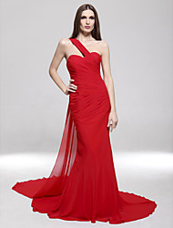 cheap -Mermaid / Trumpet One Shoulder Sweep / Brush Train Chiffon Open Back / Celebrity Style Formal Evening / Military Ball Dress with Side Draping 2020