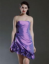 cheap -Ball Gown Homecoming Cocktail Party Dress Strapless Sleeveless Asymmetrical Short / Mini Taffeta with Draping Flower 2021