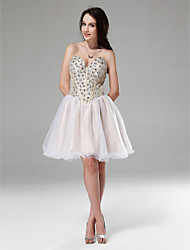 cheap -Ball Gown Sparkle & Shine Holiday Homecoming Cocktail Party Dress Strapless Sweetheart Neckline Sleeveless Short / Mini Tulle Stretch Satin Sequined with Crystals Beading 2020 / Prom