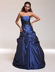 cheap -Ball Gown A-Line Quinceanera Prom Formal Evening Dress Strapless Sleeveless Floor Length Taffeta with Pick Up Skirt Sash / Ribbon 2021