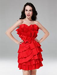 cheap -Sheath / Column Homecoming Cocktail Party Sweet 16 Dress Strapless Sleeveless Short / Mini Taffeta with Sash / Ribbon Ruffles 2021