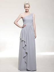 cheap -Sheath / Column Elegant Formal Evening Military Ball Dress One Shoulder Sleeveless Floor Length Chiffon with Ruffles Draping Side Draping 2020